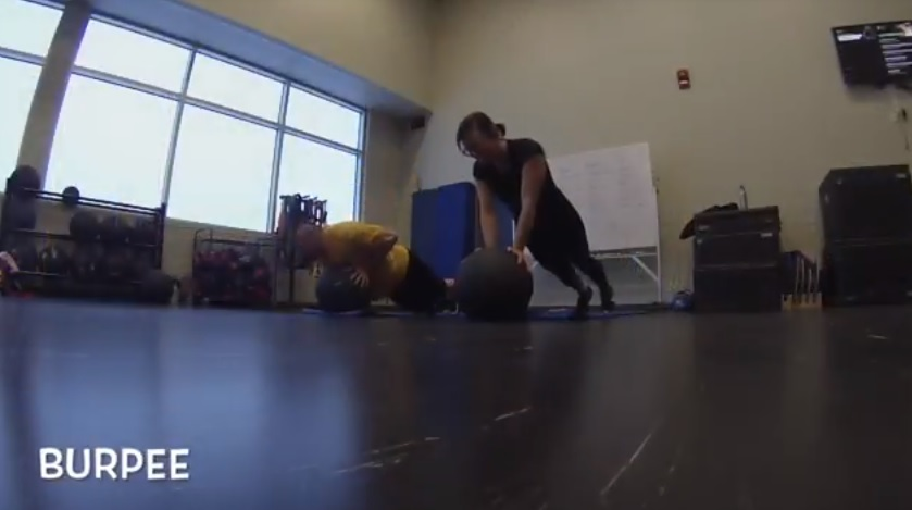 Burpee medicine ball exercises
