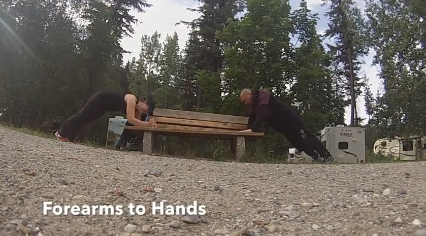 forearms to hands exercise while camping.